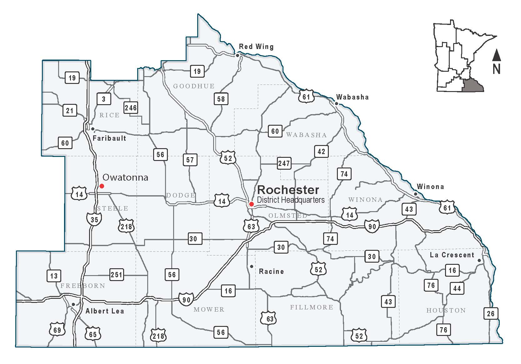 Map Of Cities In Southeast Minnesota